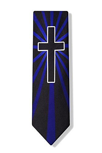 Men's Blue & Black Christian Cross Necktie Tie Neckwear