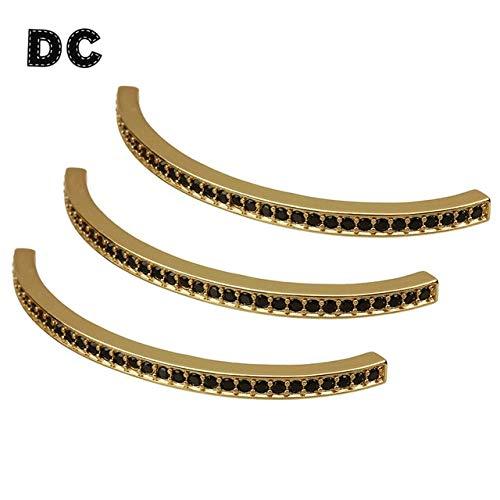 Calvas DC 2pcs Rose Gold Silver Black Color Copper Zircon Square Bend Curve Long Tube Beads 60mm fit Necklace Bracelet Making Findings - (Color: Gold)