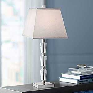 Deco Collection Table Lamp Modern Stacked Crystal Base Gray Tapered Square Shade for Living Room Family Bedroom Bedside – Vienna Full Spectrum