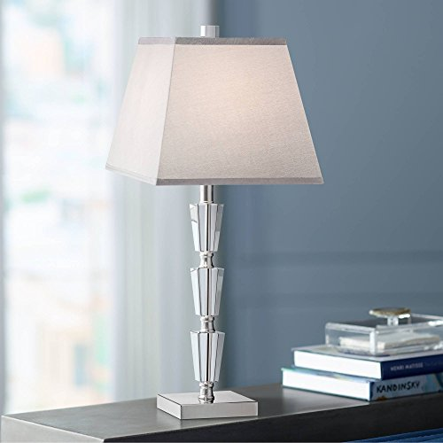 Deco Collection Table Lamp Modern Stacked Crystal Base Gray Tapered Square Shade for Living Room Family Bedroom Bedside - Vienna Full Spectrum (Tapered Base Crystal)