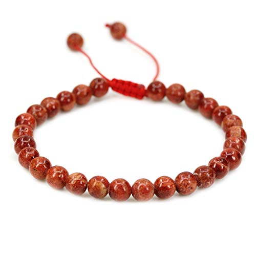 AMANDASTONES Natural Red Coral Gemstone 6mm Round Beads Adjustable Braided Macrame Tassels Chakra Reiki Bracelets 7-9 inch ()