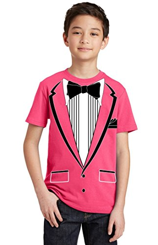 Promotion & Beyond Tuxedo (Black) with Pocket Square Ceremony Youth T-Shirt, Youth M, Cyber Pink