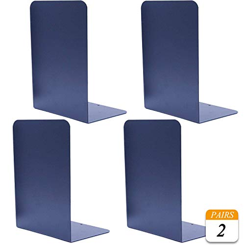 VONDERSO Heavy Duty Bookends Blue, Decorative Metal Book End Supports for Shelves Gauge Metal Book Divider Stopper Holders with Non-Slip Anti-Scratch Rubber Pads (Solid Navy Blue, 2 Pairs)