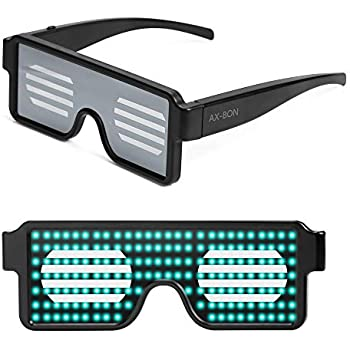 45757fc53f Amazon.com  Aquat Light up El Wire Neon Rave Glasses Glow Flashing ...