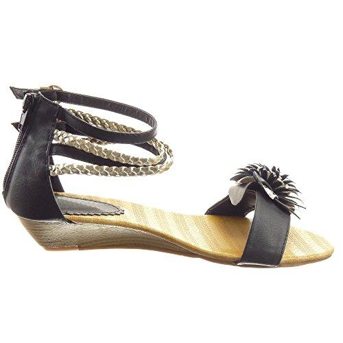 Sopily - damen Mode Schuhe Sandalen glänzende Schleife Blumen - Schwarz