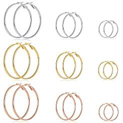 9 Pairs Big Gold Silver Rose Gold Plated...