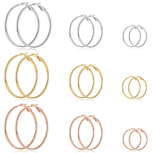 9 Pairs Big Gold Silver Rose Gold Plated Hoop Earrings Set for Women Girls Stainless Steel hypoallergenic Fashion Jewelry