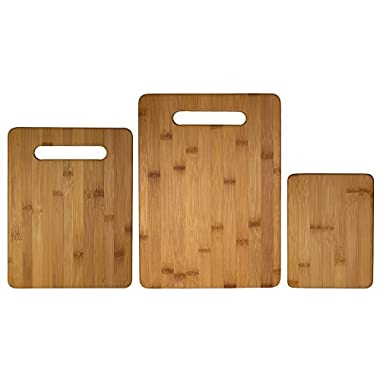 Totally Bamboo 3 Piece Bamboo Cutting Board Set, For Meat & Veggie Prep, Serve Bread, Crackers & Cheese, Cocktail Bar Board