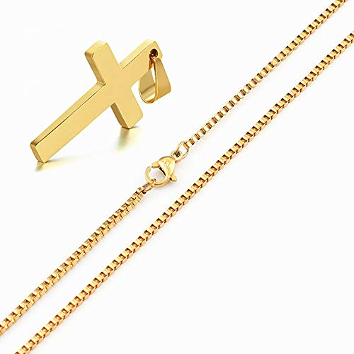 - Q&S Jewels Gold Cross Pendant Necklace for Men Women & Teens with 1.5mm Wide 18 Inch Box Chain 18K Gold Plated Based Stainless Steel Fashion Religious Christian Jewelry