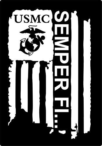 (Crazy Discount Vinyl Sticker Decal Distressed Flag USMC Semper FI Marine Corps Car Truck Window, Black)