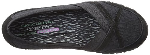Skechers Bikers Donna Satine Flat, Nero Mesh / Suede