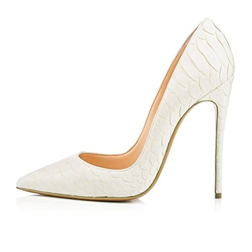 a98beca9d58c36 Femmes Dames sexy Pointe mince Pointe Toe Stiletto Cheville Talons hauts  Blanc Gris Serpentine Party Count