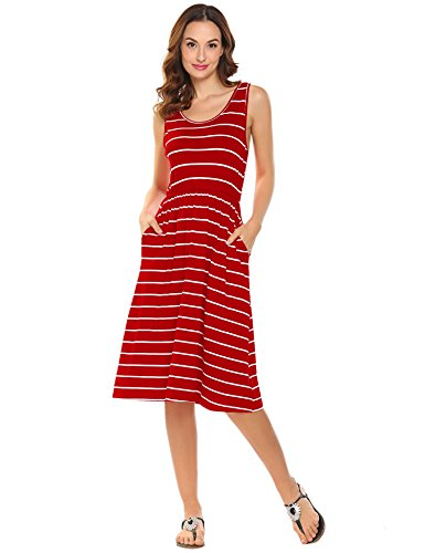 - Casual Summer Dresses for Women Sleeveless Striped Tank Dress with Pockets (Red, X-Large)