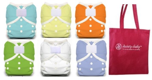 Thirsties Duo Wrap Size 2 Cloth Diaper Cover 6 pack Gender Neutral Colors with Dainty Baby Reusable Bag Bundle