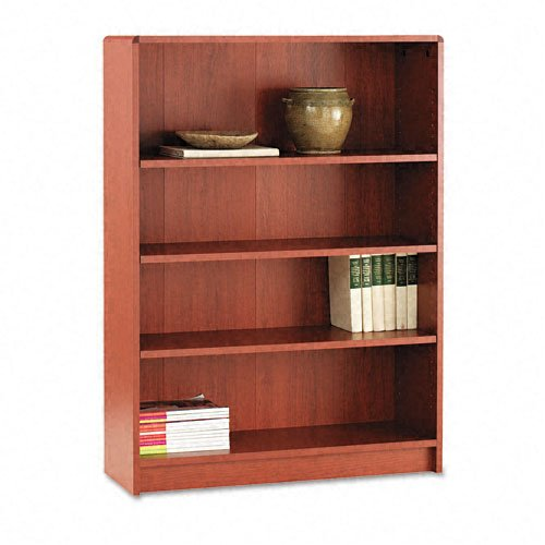 HON 1890 Series Bookcase, 4 Shelves, 36 W by 11-1/2 D by 48-3/4 H, Henna Cherry