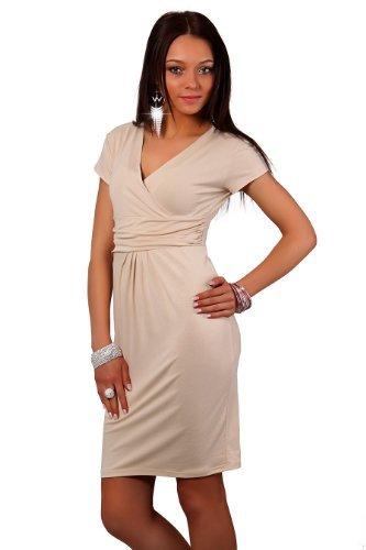 Glamour Empire Women's Stretch Mini Dress V Neck 722 One Size Beige