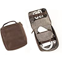Dwellbee Leather Cable and Electronics Tech Organizer, Small (Buffalo Leather, Dark Brown)