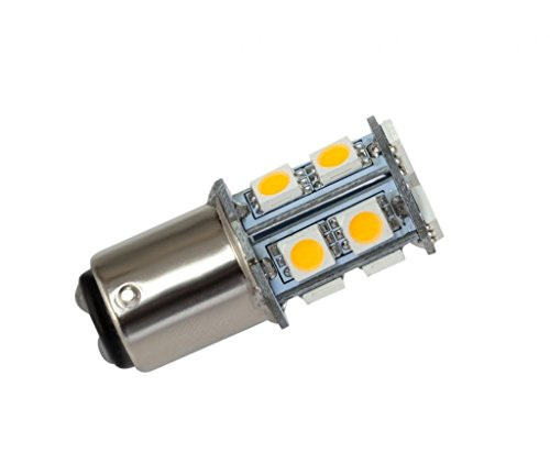GRV Ba15D 1142 1076 1176 High Bright Car LED Bulb 13-5050SMD AC/DC12V 24V Warm White Pack of 10 (12v Ac Tail Light)