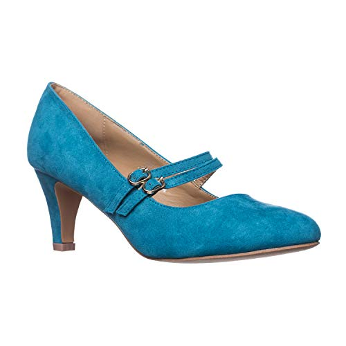 Riverberry Women's Mila Chunky, Mid Heel Mary Jane Pump Heels, Turquoise Suede, 10