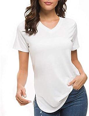 Mujer Fit Camiseta básica Cuello V Hendidura Lateral Monocromo Manga Corta Blusa Tops Blanco Blanco Large: Amazon.es: Electrónica