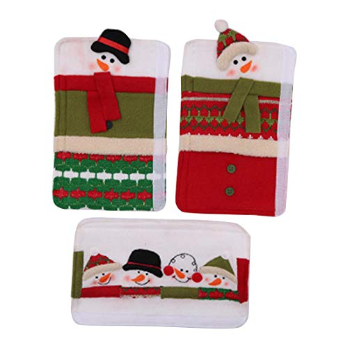 Refrigerator Door Handle Covers Christmas Snowman Style Decoration Protective Electrical Kitchen Appliances, 3Pcs