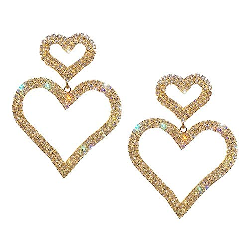 (Double Hearts Dangle Earrings Rhinestone Earrings Funky Earrings for Ladies, Party, Wedding, Girlfriend Gift (Color : Golden))
