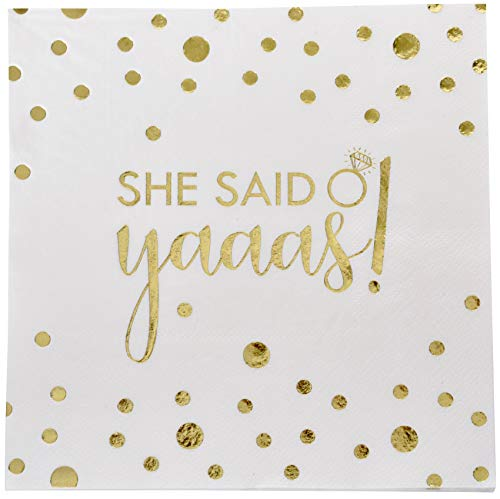 100 Engagement Wedding Napkins She Said Yaaas Luncheon 3-Ply with Gold Foil for Bridal Shower Bachelorette Party Decorations by Gift Boutique ()