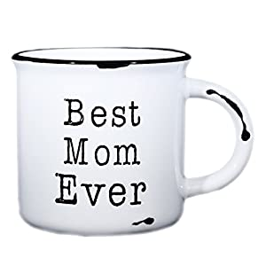 "Mom Coffee Mug ""Best Mom Ever"" - 15 oz Ceramic Campfire Mug 