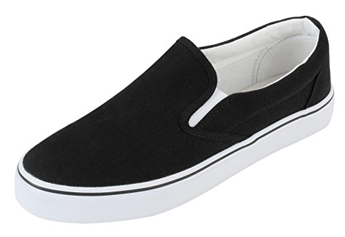 - UJoowalk Womens Black Comfortable Casual Canvas Slip On Fashion Sneakers Loafers Walking Skate Shoes - Size 7