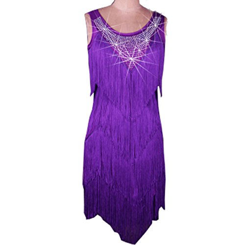 [Full Nice Women's Latin Dance Performance Fringe Clothing Sleeveless Tassel Dance Costume] (Dance Costumes For Competition For Adults)