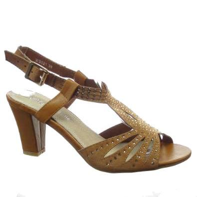 Kickly-Scarpe sportive, motivo sandalo sera caviglia donna con strass tallone blocco 7,5 CM, interno in materiale sintetico, colore: cammello
