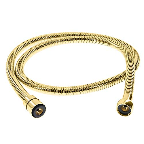 - ShowerMaxx   Extra Long Double Interlock Stainless Steel 70 Inch Handheld Shower Head Hose Strechable to 80 Inch   Solid Brass Connector   Flexible, No-Twist Hose   Leak Proof   Polished Brass Finish