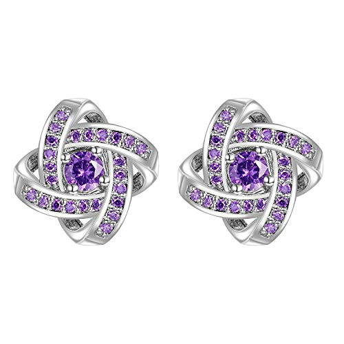 Yoursfs Purple Clip on Stud Earrings for Women Pierced Ears Twisted Love Knot Stud Earrings