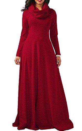 Long Collar Dresse Women's Sleeve Comfy Maxi Heap Red Sweatshirt 0qfI55nU