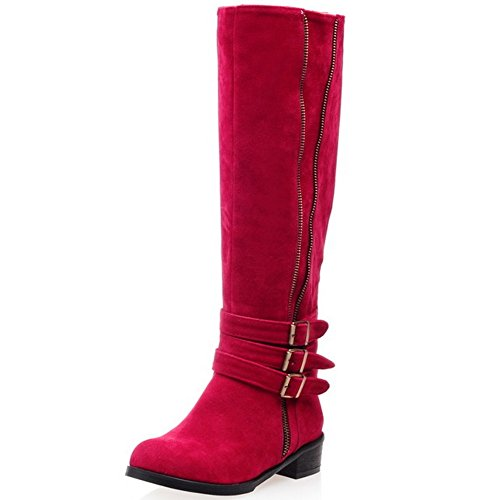 Mid Heels Western Western Top Red COOLCEPT Low Boots Strap Women Casual qP4Awfpw