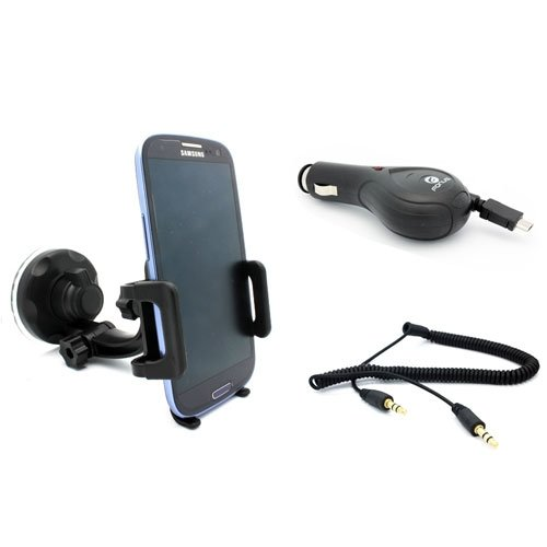 Premium Car Mount Phone Holder + Retractable Micro USB Auto