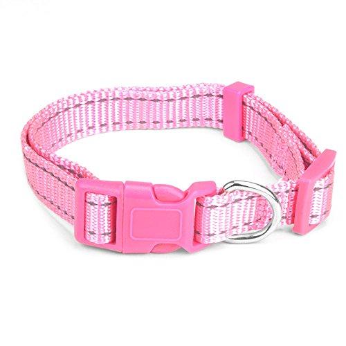 (Weebo Pets Adjustable Nylon Dog Collar with Hi-Visibility Reflective Thread (Pink, Small))