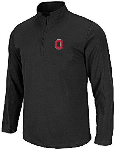 (J America Ohio State Buckeyes Black Block O Embroidered Quarter Zip Pullover Sweatshirt (X-Large))