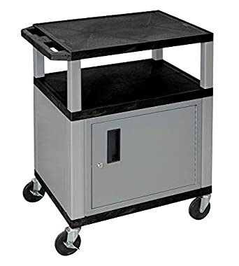 Amazon Com Luxor Wt34c4e N Wtd 34 In Av Utility Cart With 3 Shelves And Cabinet Drawer Nickel Leg Industrial Scientific