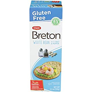 Dare Breton Gluten Free Crackers, White Bean with Salt & Pepper, 4.2 oz Box (Pack of 6) – Healthy Gluten Free Snacks with No Artificial Colors or Flavors – Made with Navy Beans and Tapioca Flour