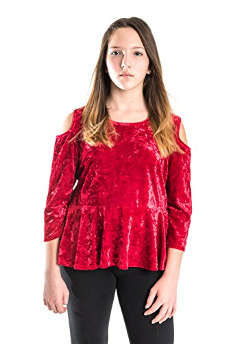 6491990a9f11ac Galleon - Smile You Are Beautiful Girls Kids Full Size Crush Velvet Cold  Shoulder ¾ Sleeve Peplum Hi-Lo Top Red Size 18.5