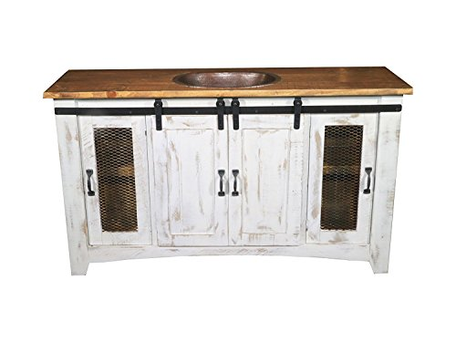 80 Inch Distressed White Farmhouse Sliding Barn Door Single Sink Bathroom Vanity Fully Assembled With Copper Drop In Sink Installed (80 Inch, White) For Sale