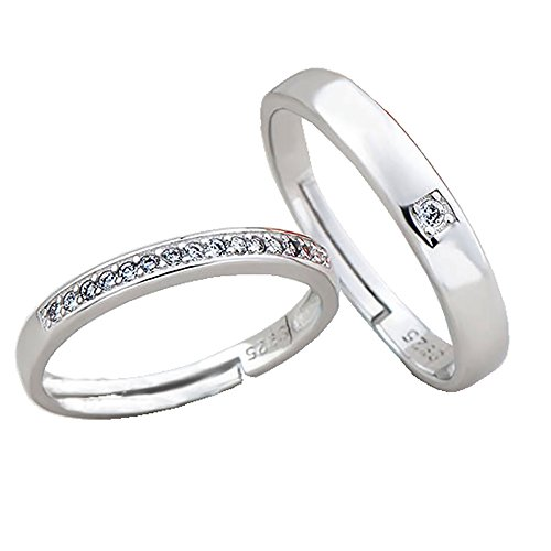 Pair Promise Rings - Tidoo Jewelry 1 Pair Wedding Rings for Women and Men Pure 925 Sterling Silver Jewelry Cubic Zirconia CZ Opening Couple Rings