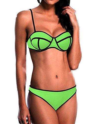 Cliont Empuje hacia arriba del salto brillante Traje de baño determinado del bikiní del traje de baño Verde