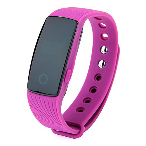 Makibes Fitness Tracker ID107 Water Resistant Wireless Bluetooth 4.0 Smartband & Heart Rate Monitor Multi-functional Sports Wristband Smart Bracelet for Android iOS - Purple