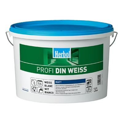 Wandfarbe Profi DIN Weiß 12, 5 Liter Color Altweiß Herbol