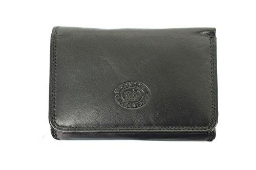 Damen Leder Klein Portmonee/Portemonnaie Clutch Tasche Von London Leather Goods Schwarz vLkrkT84h