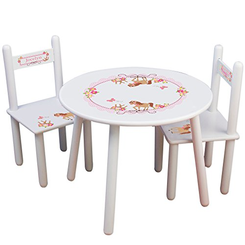 Personalized Ponies Prancing Childrens White Table and Chair Set
