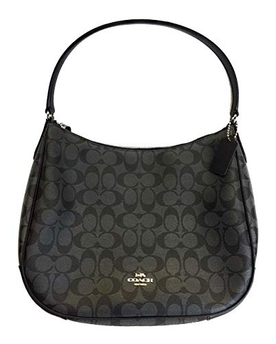 Canvas And Leather Signature Hobo Bag - Coach Signature Hobo Bag Black Smoke/Black F29209 SHB