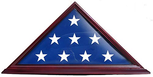 DisplayGifts 5' X 9. 5' Flag Display Case For BURIAL Memorial Flag-Beveled Base For Nameplate, Cherry Finish, SOLID WOOD FC06 (Cherry, For 5'X9. 5' Flag)